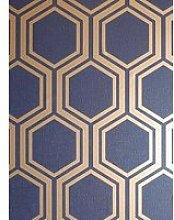 Arthouse Luxe Hexagon Navy &Amp; Gold Wallpaper