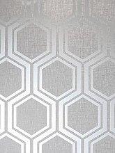 Arthouse Luxe Hexagon Silver Wallpaper