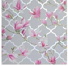 Arthouse Magnolia Trellis Grey & Pink Metallic