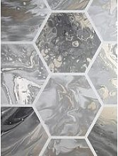 Arthouse Marbled Hexagon Charcoal / Rose Gold
