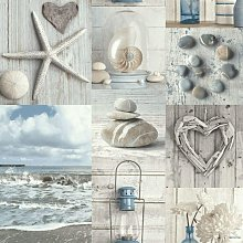 Arthouse Maritime Collage 699000 Wallpaper, Blue