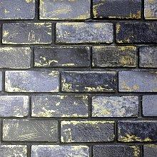 Arthouse Metallic Brick Navy Blue Wallpaper