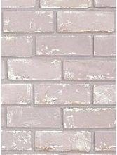 Arthouse Metallic Brick Pink / Rose Gold Wallpaper
