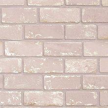 Arthouse Metallic Brick Pink Wallpaper