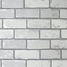 Arthouse Metallic Brick Silver Wallpaper