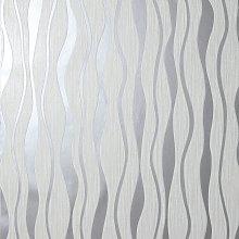Arthouse Metallic Wave Silver Wallpaper