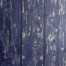 Arthouse Metallic Wood Navy Blue Wallpaper