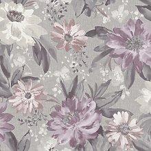 Arthouse Painted Dahlia Purple Wallpaper