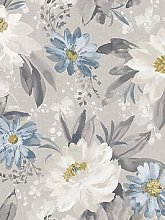 Arthouse Painted Dahlia Wallpaper - Grey