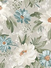 Arthouse Painted Dahlia Wallpaper In Green