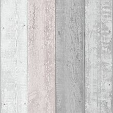 Arthouse Painted Wood Pink Grey Wallpaper