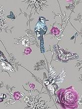 Arthouse Paradise Garden Silver Wallpaper