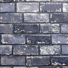 Arthouse Peel And Stick Metallic Brick Navy