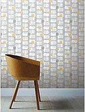 Arthouse Retro Block Ochre &Amp; Grey Wallpaper