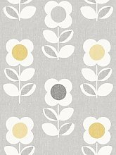 Arthouse Retro Floral Grey And Yellow Wallpaper