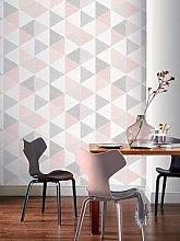 Arthouse  Scandi Triangle Wallpaper &Ndash; Pink