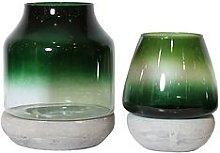 Arthouse Set 2 Glass & Concrete Candle Holders