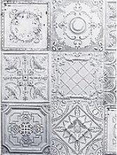 Arthouse Tin Tile White Wallpaper