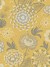 Arthouse Vintage Bloom Wallpaper - Mustard Yellow