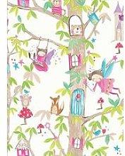 Arthouse Woodland Fairies White Wallpaper