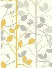 Arthouse Woodland Grey & Yellow Wallpaper