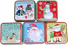 Artibetter 5pcs Christmas Metal Tins Christmas
