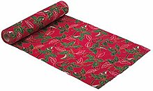 Artifete Red Christmas Linen Table Runner with