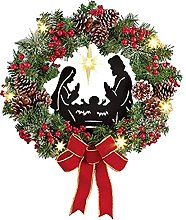 Artificial Christmas Wreath with Red Bowknot Pine