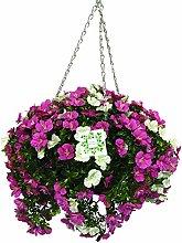 Artificial Flower Hanging Basket White & Pink 30cm