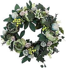 Artificial Green Flower Door Wreath Peony Wreath