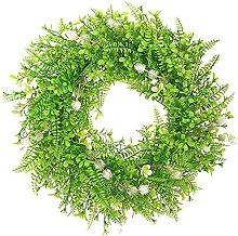 Artificial Green Leaf Wreath 19.6 Inch Farmhouse