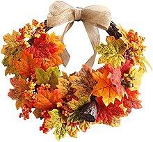 Artificial Harvest Maple Leaf Wreath Front Door