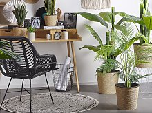 Artificial Potted Areca Palm Green and Black