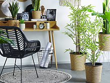 Artificial Potted Bamboo Plant Green and Black