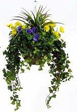 Artificial Silk Pansy Large Hanging Basket -