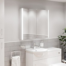Artis Espello LED Aluminium Mirror Cabinet with Demister Pad & Shaver Socket 700x600mm - Mains Power