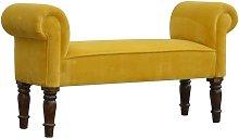 Artisan Furniture Solid Mango Wood Bench Mustard