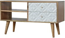Artisan Furniture Solid Mango Wood Diamond Carved