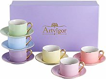 Artvigor Mixed Bright Colors Glazed Porcelain Tea
