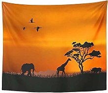 Artwork Wall Hanging Orange Safari Nature Red