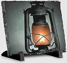 Arty Pie Rock Slate Picture Kerosene Lamp, Stone