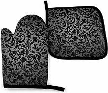 Asa Dutt528251 Black Decorative Pattern Oven Mitts