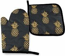 Asa Dutt528251 Golden Pineapple Black Oven Mitts