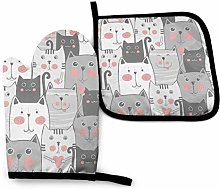 Asa Dutt528251 Gray Cat Pattern Oven Mitts and
