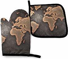 Asa Dutt528251 Grunge World Map Black Oven Mitts