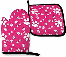 Asa Dutt528251 Pink Paw Paw Paw Oven Mitts and