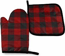 Asa Dutt528251 Red Black Lattice Oven Mitts and