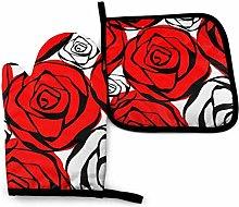 Asa Dutt528251 Rose Outline Red Black Nature Oven