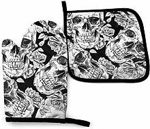 Asa Dutt528251 Skull Flower Black Oven Mitts and
