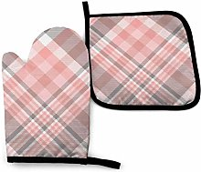 Asa Dutt528251 Tartan Plaid Gray Pink Oven Mitts